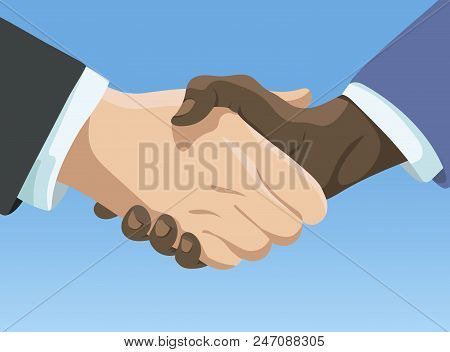 Business Handshake. Affiliate Handshake. Shaking Hands Of Men. Vector Illustration For Business On B