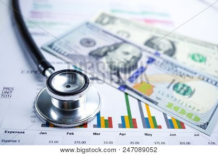 Stethoscope, Charts And Graphs Spreadsheet Paper,us Dollar Banknote, Finance, Account, Statistics, I