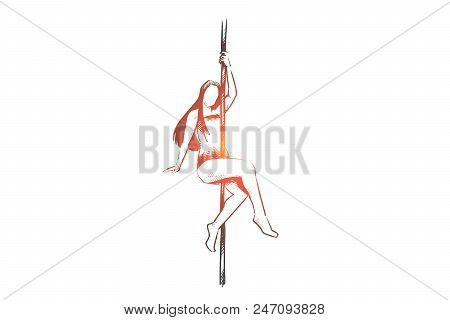 Pole, Dance, Girl, Body Concept. Hand Drawn Girl Dancing With Pole Concept Sketch. Isolated Vector I