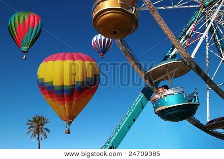Ferris Wheel Kiss With Hot Air Balloons