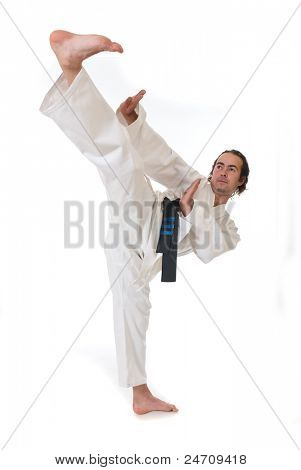 Karate fighter on white background