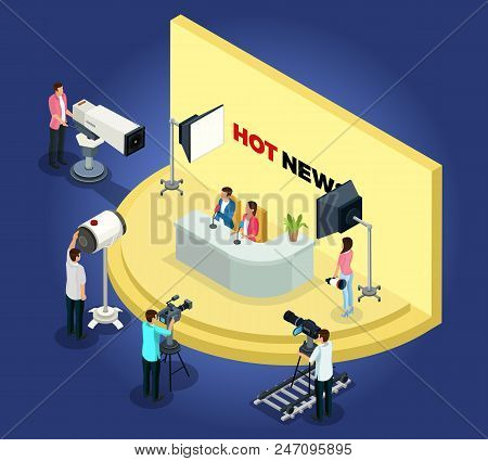 Isometric Telecast Videotaping Concept With Different Workers Shoot News Using Cameras And Lightning