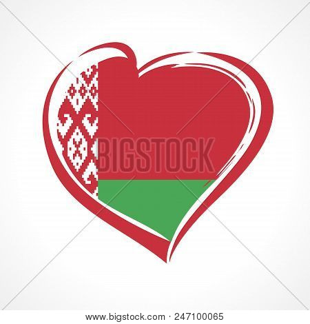 Love Belarus Emblem, Independence Day Banner With Heart In National Flag Color. National Holiday In