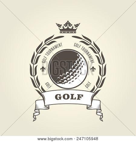 Golf Tournament Emblem Or Blazon -  Golf Ball And Laurel Wreath