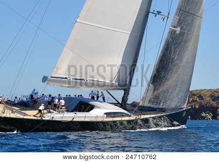 Participants in the Maxi Yacht Rolex Cup boat race (Team: Dsk), on September 10,2011 in Porto Cervo,