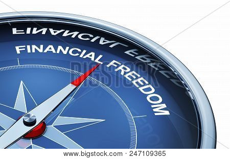3d Rendering Of An Compass With The Words Financial Freedo