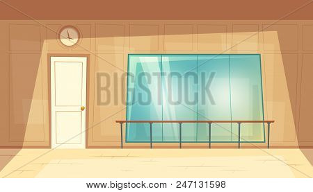 Vector Cartoon Illustration Of Empty Dance-hall With Mirrors And Wooden Floor. Rehearsal Room For Ba