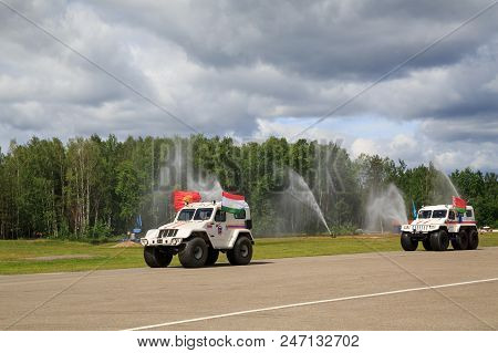 Noginsk, Russia - June 06, 2018. Parade Of Rescue Equipment. International Exhibition Complex Safety