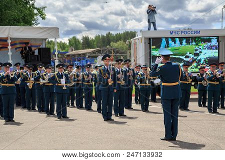 NOGINSK, RUSSIA - JUNE 06, 2018. Military orchestra during the parade of rescue equipment. International exhibition Complex Safety 2018. Noginsk Rescue Center, Moscow region, Russia