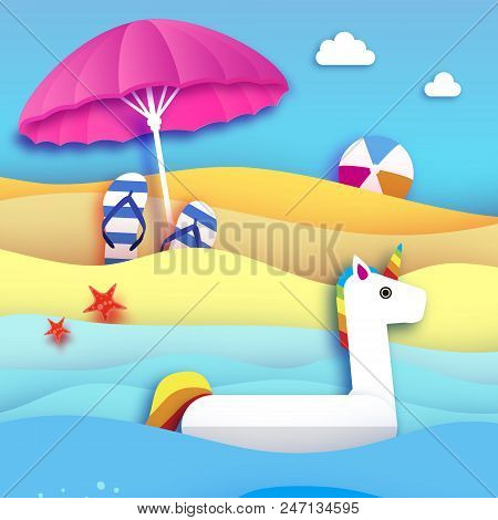 Giant Inflatable Fantasy Unisorn In Paper Cut Style. Beach Parasol - Umbrella. Origami Pool Float To