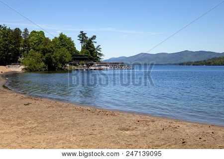 The Shore Line Of Lake George In New York