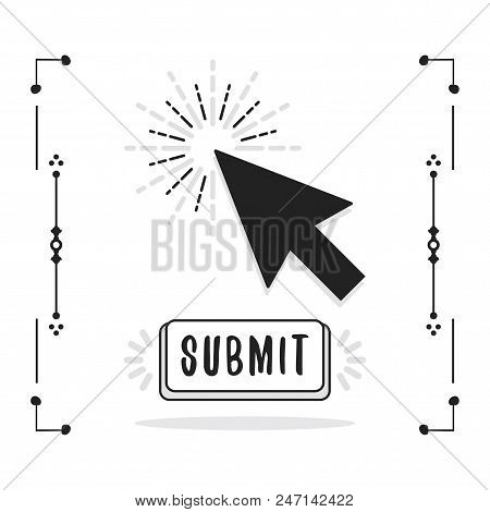 Black Abstract Close Up Click Cursor Pointer And Submit Button Icons On White Background