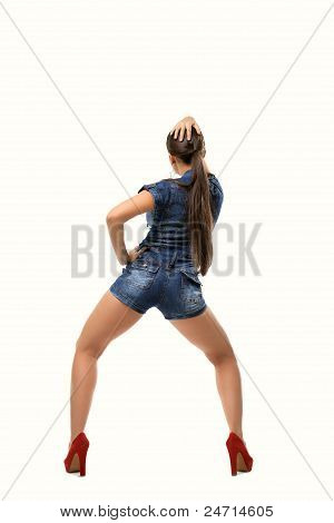 Attractive young woman dance rnb style isolated