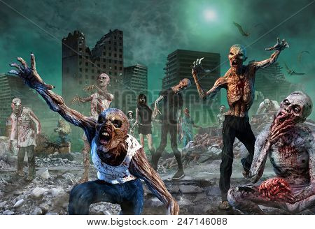 A Horde Of Attacking Zombies Scene 3d Illustration