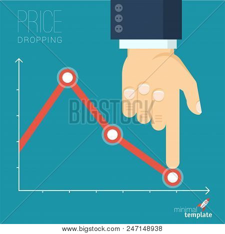 Flat Design Vector Illustration Of Businessman Creating Decreasing Business Graph. Vector Abstract P