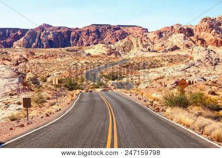 Scenic road in  the  Valley of Fire State Park, Nevada, United States.