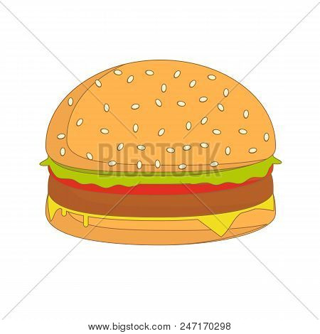 Burger Sandwich Illustration, Food Icon, Burger Sandwich Isolated - Fast Food. Stock Flat Vector Ill