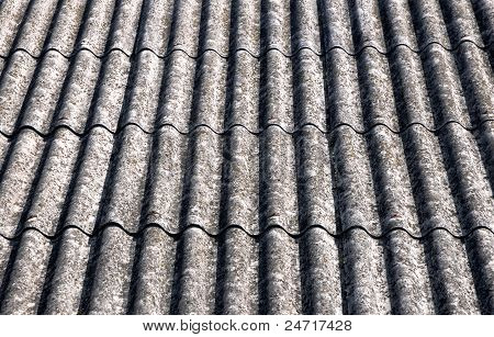 close up on corrugated asbestos roof on byre building in Poland poster