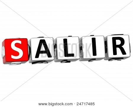 3D Salir Block Text On White Background