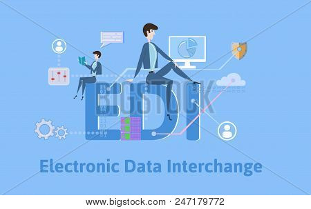 Edi, Electronic Data Interchange. Concept With Keywords, Letters And Icons. Colored Flat Vector Illu
