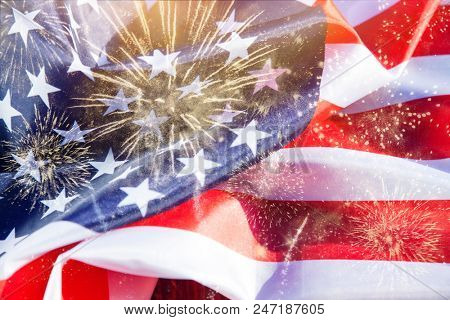double exposure of american flag and fireworks - USA - celebrating Independence day - 4th of July