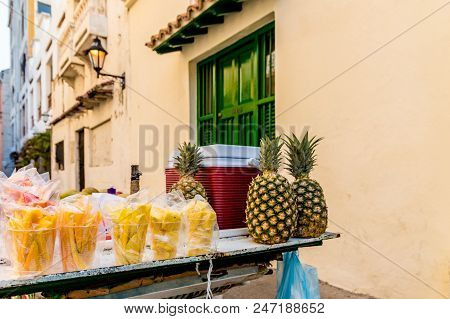 Cartagena, Colombia. March 2018. A view of fresh fruit for sale in Cartagena colombia poster