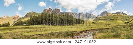 Garden Castle, South Africa - March 25, 2018: Garden Castle In The Drakensberg. Hermits Wood Camp Is