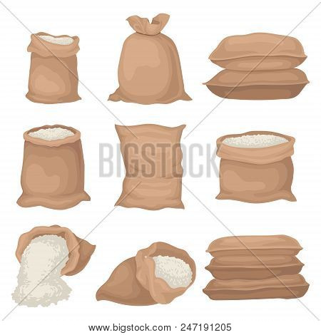 Set Of Burlap Sacks With Rice Or Flour. Large Textile Bags. Organic Agricultural Product. Food Stora