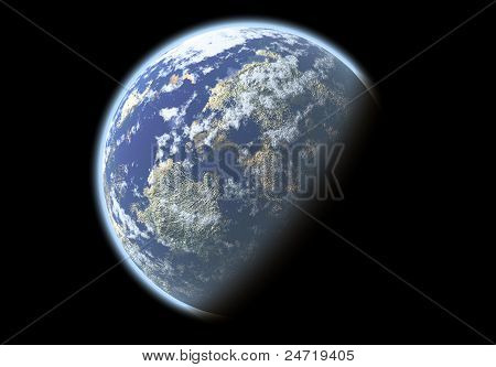 Beautiful abstract blue planet in the space poster