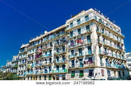 Moorish Revival residential architecture in Algiers, the capital of Algeria poster