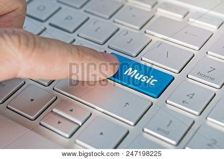 Computer Notebook Keyboard Technology Background. Inscriptions On The Grey Silver Keyboard Button Mu