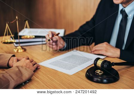 Marriage Divorce On Judge Gavel Deciding, Consultation Between A Businesswoman And Male Lawyer Or Ju