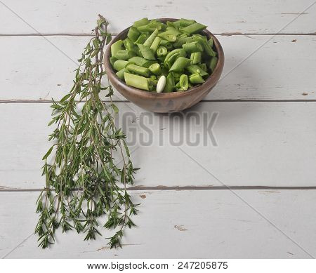 Colorful And Crisp Image Of Beans And Savory On Wood