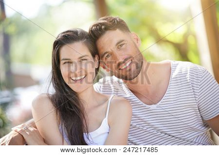 Portrait of 40-year-old couple on summer day