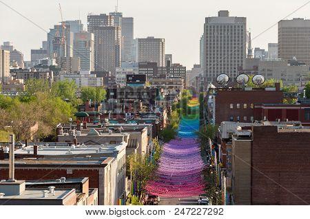 Montreal, Ca - 18 May 2017: Rainbow Balls Art Installation