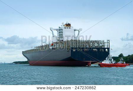 Empty Container Ship, Cargo Ship Accompanied, Sea Cargo Ship