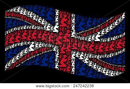 Waving United Kingdom Flag On A Black Background. Vector Gentleman Pray Pictograms Are United Into C