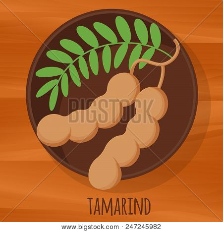 Tamarind Flat Design Vector Icon. Flavor Spices And Herbs Menu Template Collection.