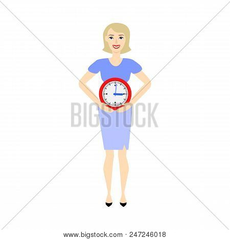 Businesswoman And Time Management, Deadline Concept. Female Character In Corporate Suit, Manager Off