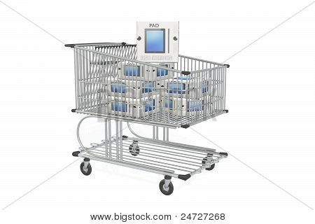 shopping cart and tablet pc