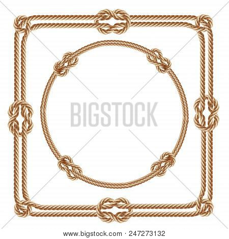 Vector 3d Realistic Square And Round Frames, Made From Fiber Ropes. Jute Or Hemp Twisted Cords With