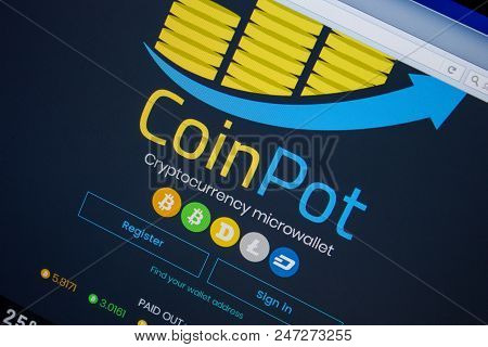 Ryazan, Russia - June 26, 2018: Homepage Of Coinpot Website On The Display Of Pc. Url - Coinpot.co