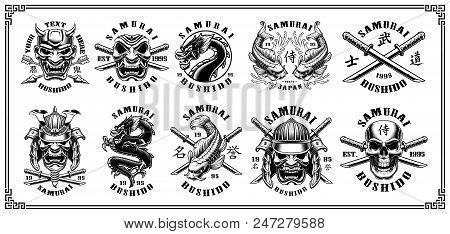 Set Of Vintage Samurai Warrior Emblems, Badges, Logos, Shirt Designs. Text Is On The Separate Layer.