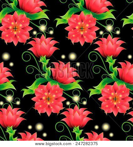 Seamless Pattern With Decorative Magical Red Flowers, Bright, Green Leaves, Curls And Sprouts On A B