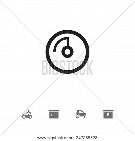 Set Of 5 Editable Car Icons. Includes Symbols Such As Odometer, Battery, Accumulator And More. Can B