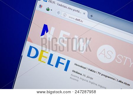 Ryazan, Russia - June 26, 2018: Homepage Of Delfi Website On The Display Of Pc. Url - Delfi.lv