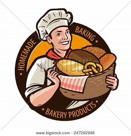 Bakery, Bakeshop Logo Or Label. Home Baking, Bread Concept. Cartoon Vector Illustration Isolated On