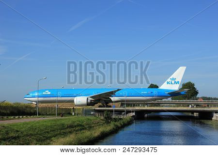 Amsterdam, The Netherlands - June 9th 2016:  Ph-bvi Klm Royal Dutch Airlines Boeing 777, Taxiing To