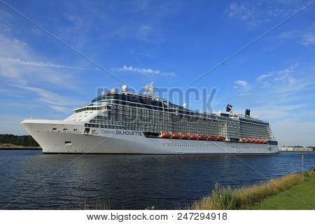 Velsen, The Netherlands - July 20th 2017: Celebrity Silhouette Is A Solstice-class Cruise Ship, Owne