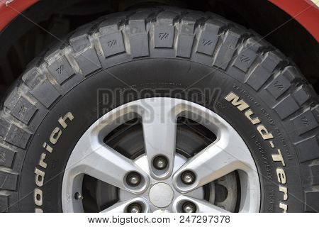 Marica, Brazil - March 10, 2018:  Detail Of Car Tire, Waiting To Enter A Competition